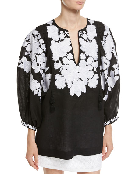 Vita Kin Floral-Embroidered Puff-Sleeve Linen Blouse and Matching