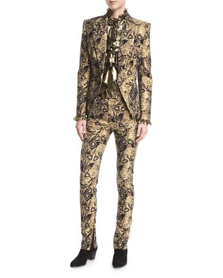 Metallic Jacquard Skinny Pants