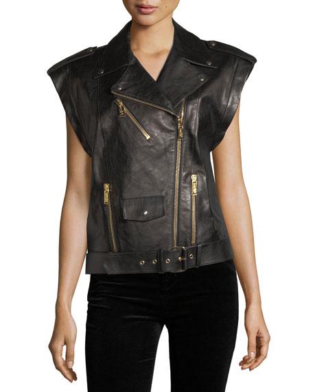 Oversized Leather Moto Vest