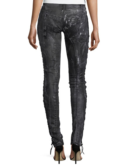 Coated Lace-Up Skinny Jeans