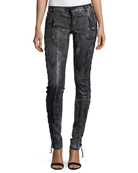 Redemption Coated Lace-Up Skinny Jeans