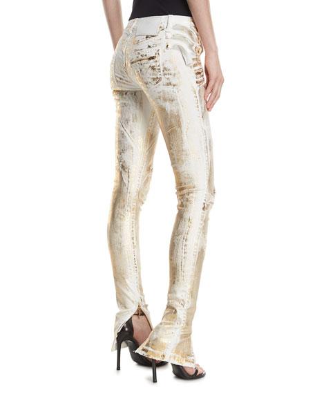 Distressed Metallic Zip-Cuff Jeans