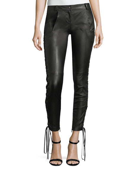 Redemption Leather Skinny Pants w/Lace-Up Sides