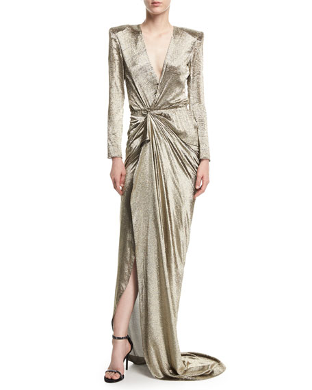 Long-Sleeve Wrap-Front Metallic Gown