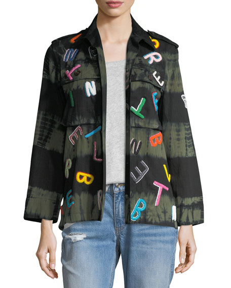 Tie-Dye Army Jacket with Letter Embroidery