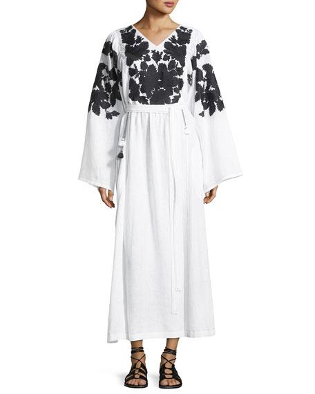 Summer Garden Embroidered Linen Kimono-Sleeve Dress