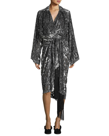 Michael Kors  LEOPARD VELVET FIL COUPE KIMONO WRAP DRESS