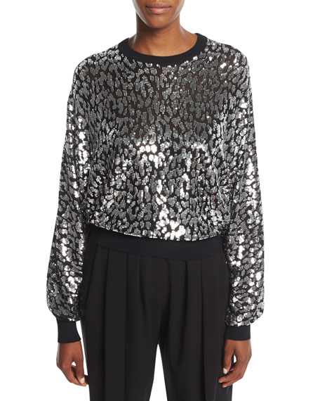 Michael Kors Collection Sequined Leopard Sweatshirt and Matching