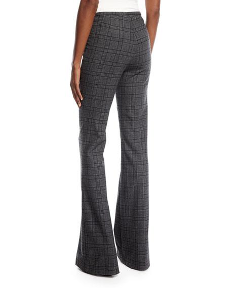 Plaid Stretch-Flannel Flare-Leg Pants