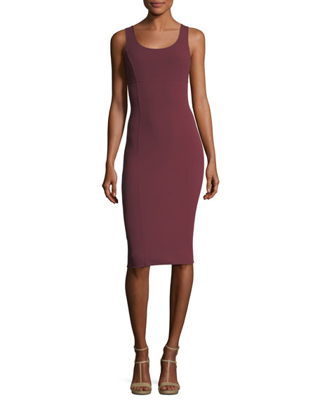 Michael Kors Collection Wool Crepe Scoop-Neck Sheath Dress