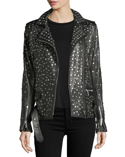 Galilee Nailhead-Studded Oversized Leather Biker Jacket