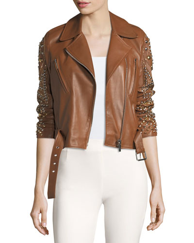 Studded Leather Moto Jacket