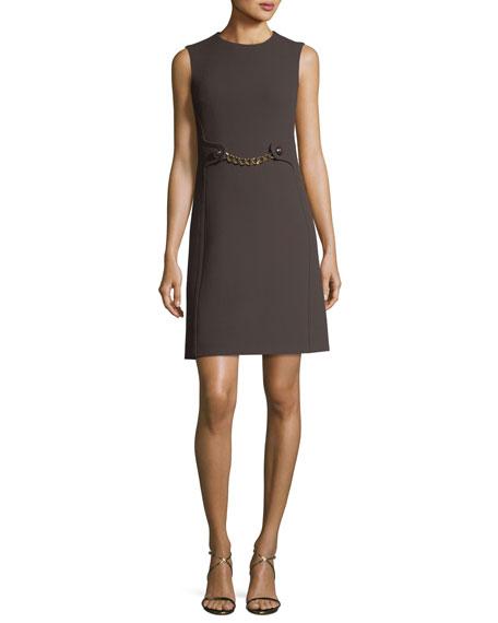 Boucle Crepe Chain-Waist Shift Dress