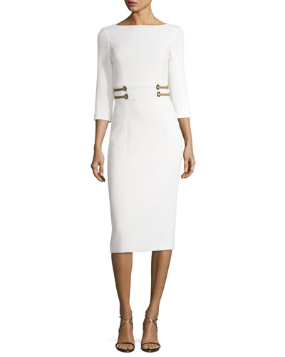 Leather-Trim Boucle Crepe Sheath Dress