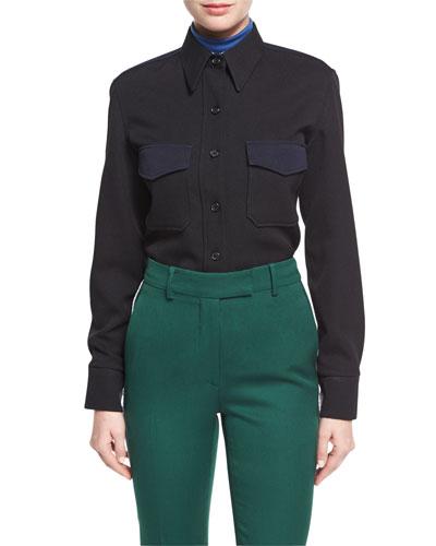 Wool Twill Western Shirt, Black/Blue