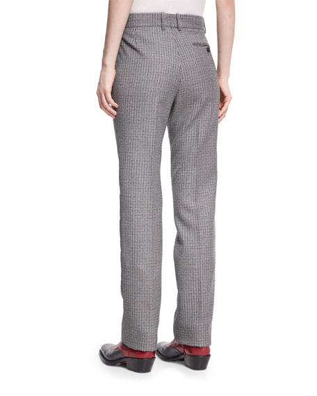 Check Virgin Wool Straight-Leg Pants