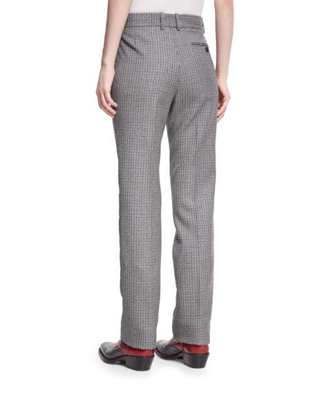Check Virgin Wool Straight-Leg Pants
