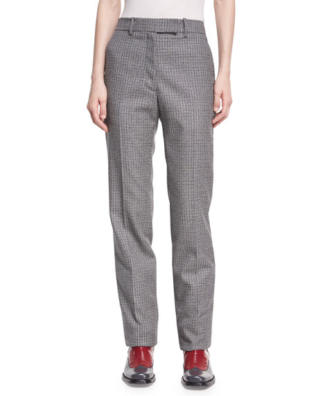 CALVIN KLEIN 205W39NYC Check Virgin Wool Straight-Leg Pants