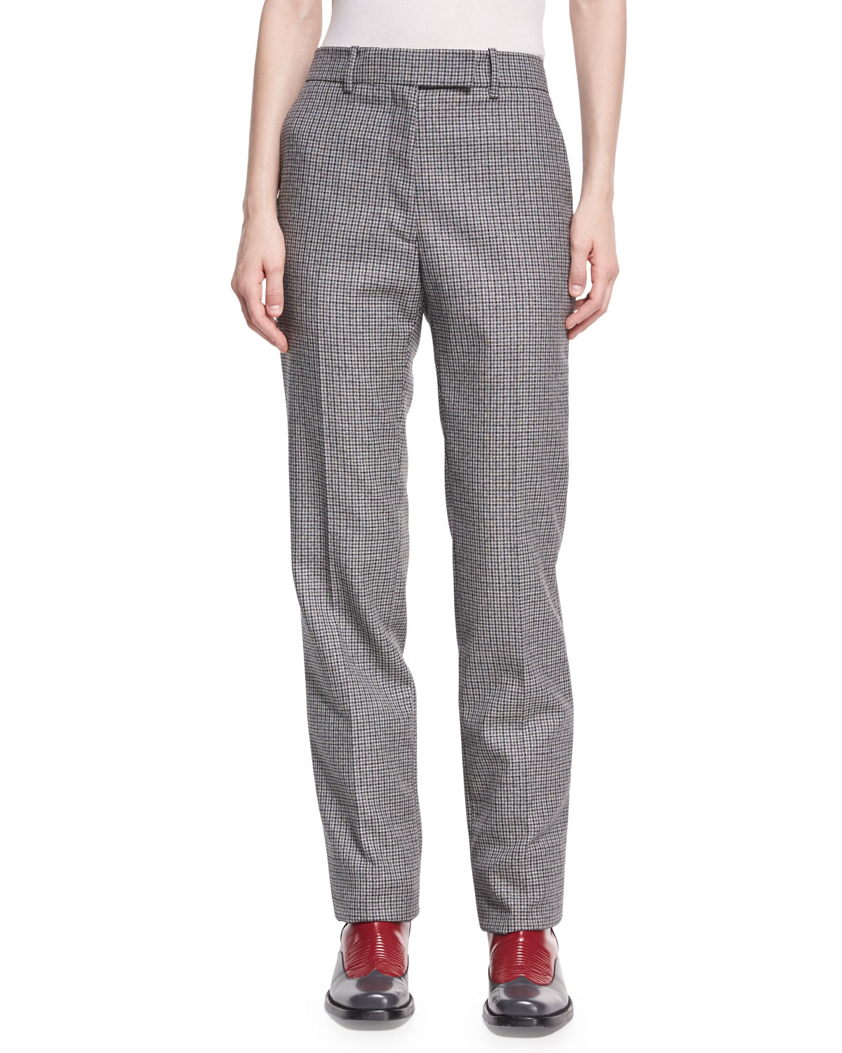 Calvin Klein 205w39nyc Check Virgin Wool Straight Leg Pants And Marching Black