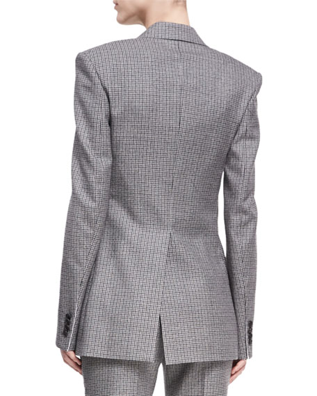 Check Virgin Wool Double-Breasted Blazer
