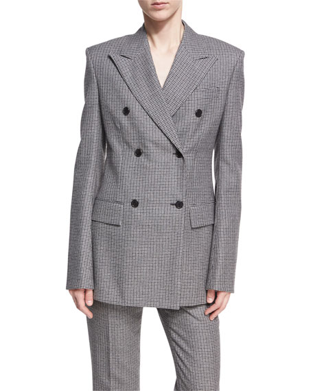 CALVIN KLEIN 205W39NYC Check Virgin Wool Double-Breasted Blazer