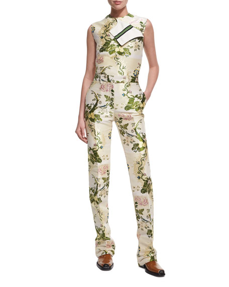 Floral Brocade Straight-Leg Pants