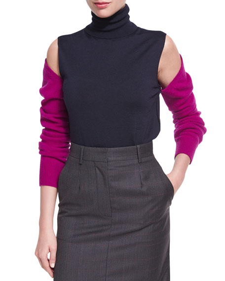 Cold-Shoulder Bicolor Merino Wool Turtleneck Top
