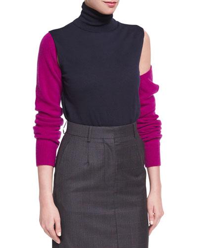 Cold-Shoulder Bicolor Merino Wool Turtleneck Top