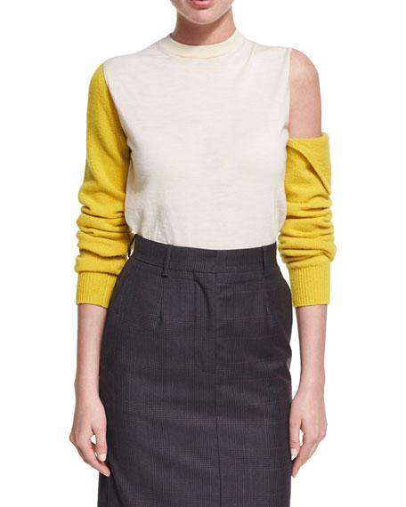 Cold-Shoulder Bicolor Wool Crewneck Top