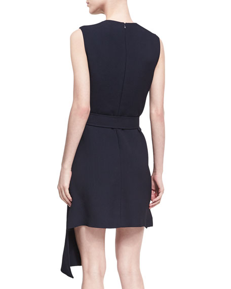 Draped-Overlay Sleeveless Dress with D-Ring Belt