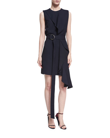 Draped-Overlay Sleeveless Dress with D-Ring Belt