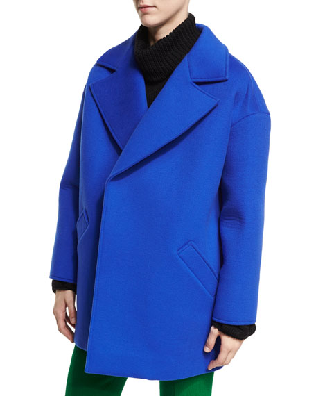 Oscar de la Renta Oversized Notch-Collar Coat