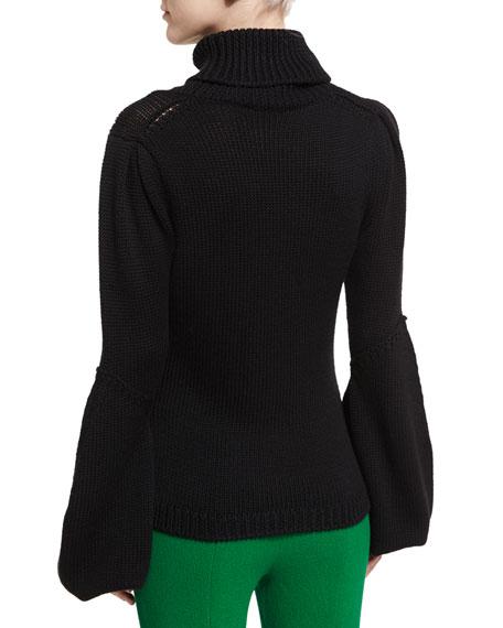 Knit Wool Bell-Sleeve Sweater