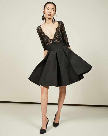 3/4-Sleeve Lace Bubble-Skirt Cocktail Dress