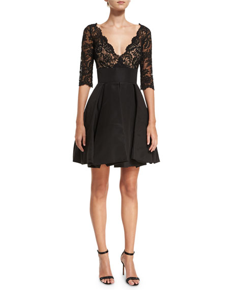Oscar de la Renta 3/4-Sleeve Lace Bubble-Skirt Cocktail
