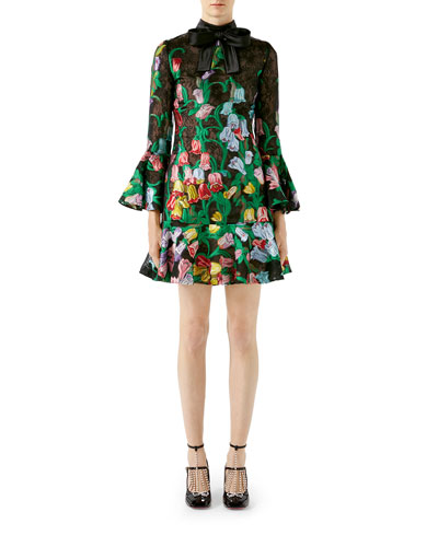 3/4-Sleeve Bouquet Organza Cocktail Dress