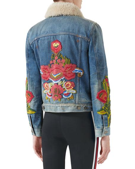 Floral-Embroidered Denim Jacket w/ Shearling Fur