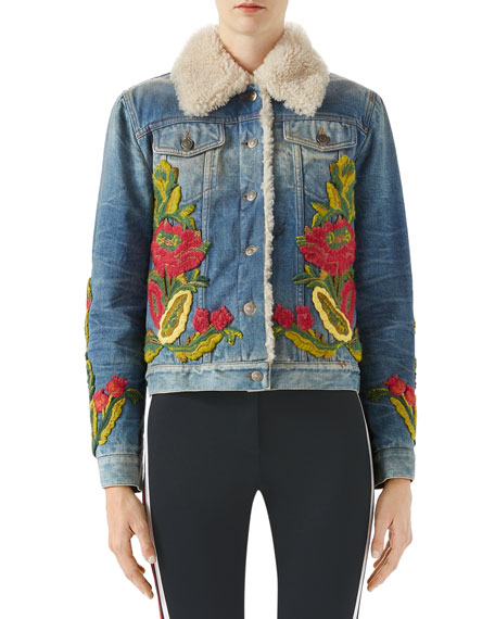 Floral-Embroidered Denim Jacket w/ Shearling Fur