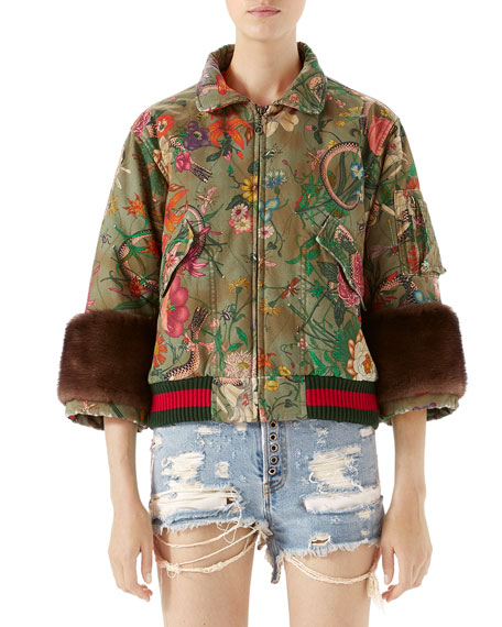 Gucci Flora Snake Vintage Denim Bomber with Mink