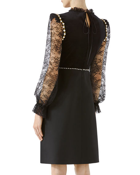 Crepe Wool Silk Dress with Embroidery