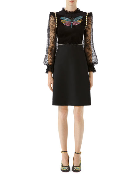 Gucci Crepe Wool Silk Dress with Embroidery