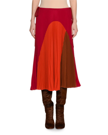 Agnona Colorblock Pleated Midi Skirt and Matching Items