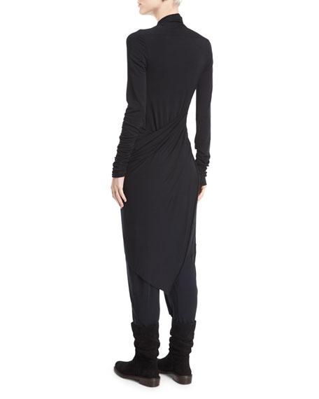 Draped Jersey Plunge-Neck Jumpsuit