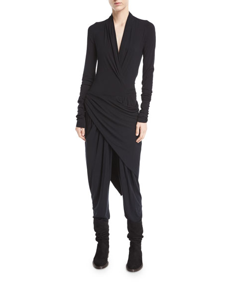 Draped Jersey Plunge-Neck Jumpsuit