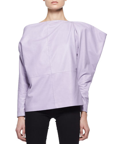 Leather Off-Shoulder Top, Lavender
