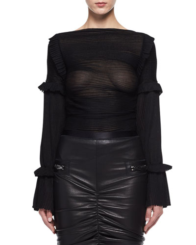 Sheer Raised-Seam Silk Top