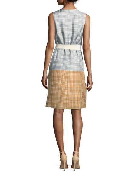 Dottie Plaid Ombre Silk Twill Convertible Dress