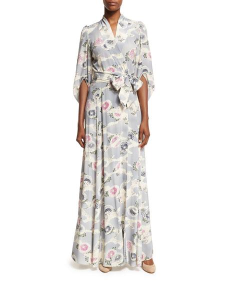 Mum-Print Silk Kimono Wrap Maxi Dress