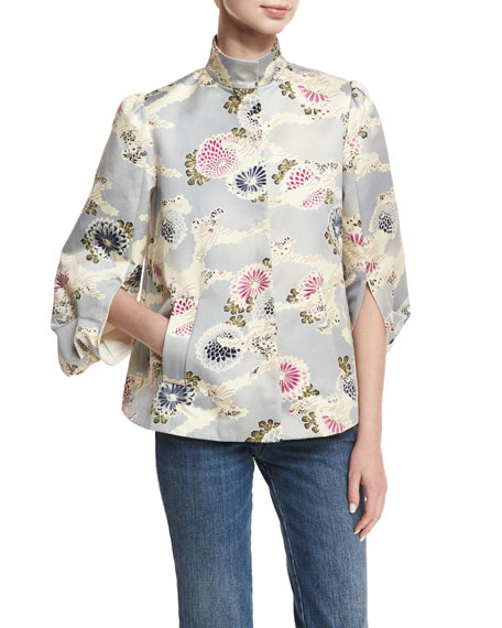 Co Floral-Print Mandarin-Collar Topper