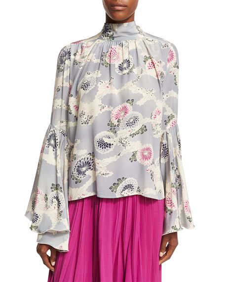 Co Mum-Print Silk Crepe Bell-Sleeve Top